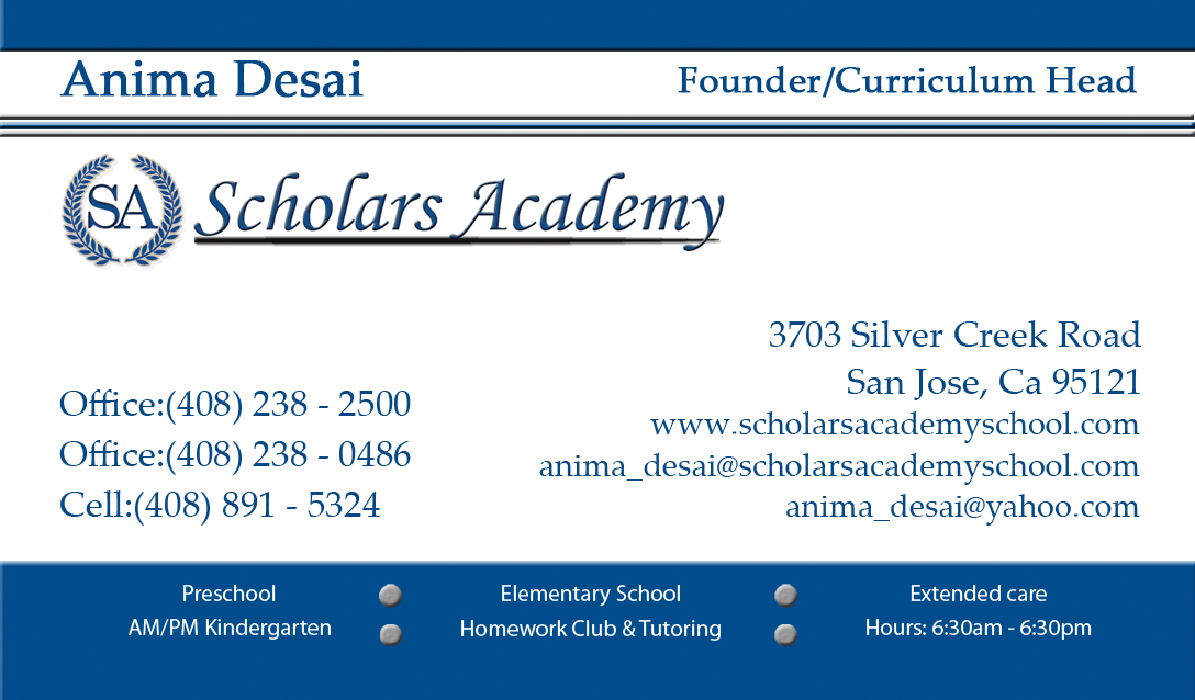 Business Card for the School