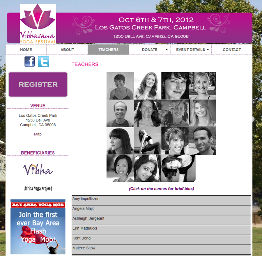 Website for Yoga Conference