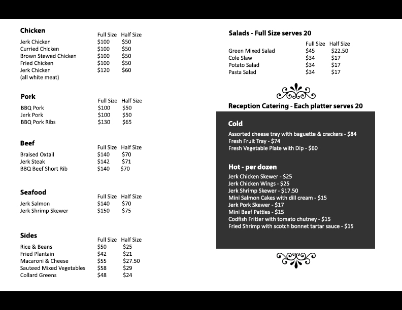 Catering menu back.