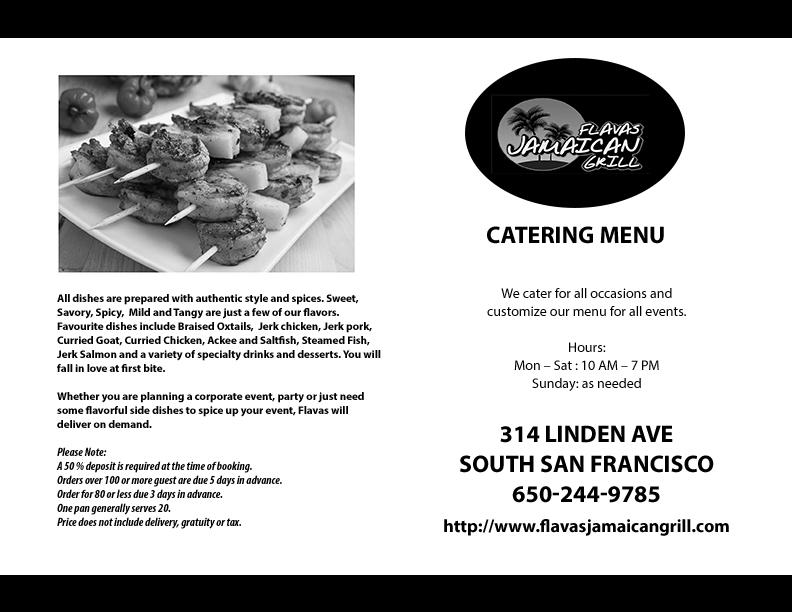 Black & White Catering menu