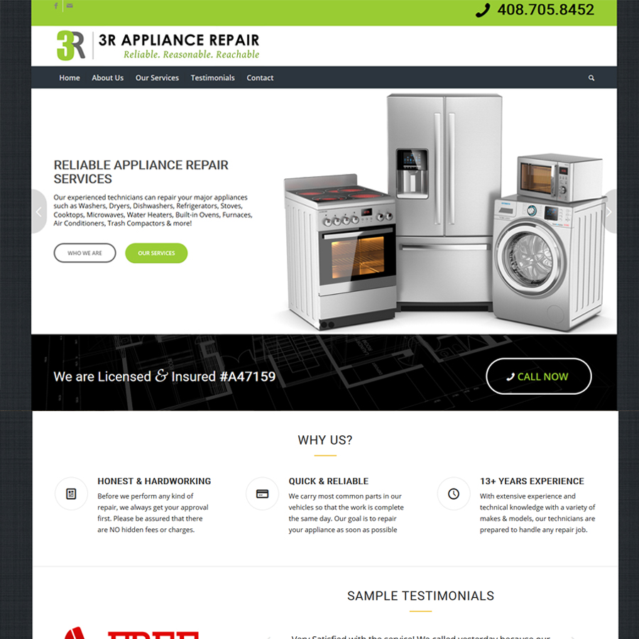 SV3 Designs | Appliance Repair Website